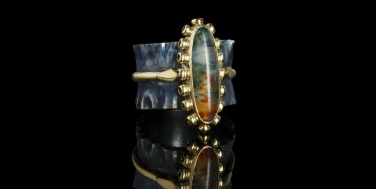 Gouden vintage ring met mosagaat