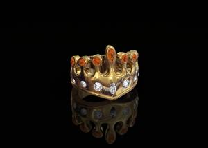 Gouden Kroonring met mandarijn granaat